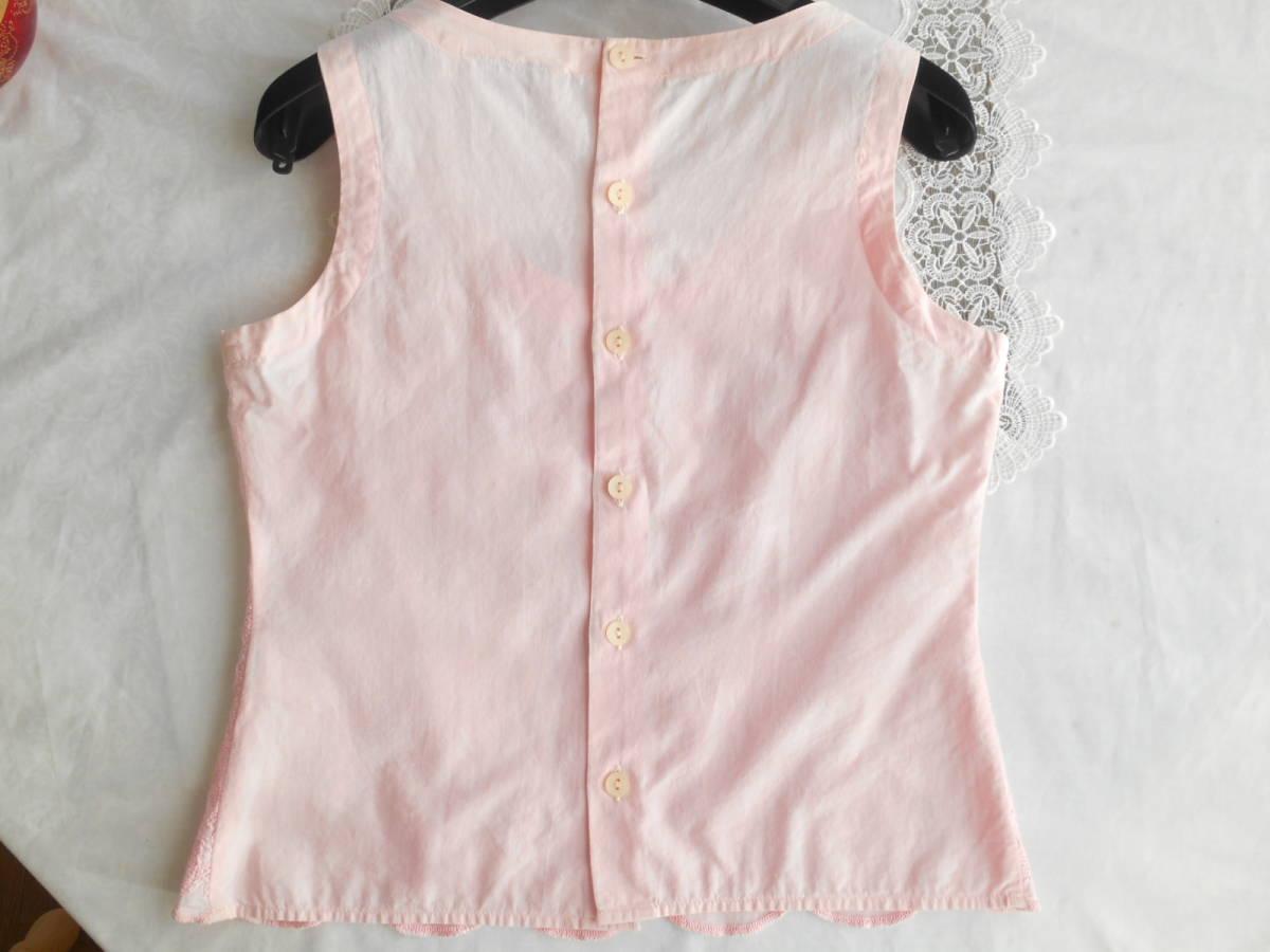 イタリア製*nara camicie*可憐な豪華刺繍のベビーピンクブラウス*背中ボタン*手染めコットンエンブロイダリー綿*ナラカミーチェ*1*Mサイズ*_画像9