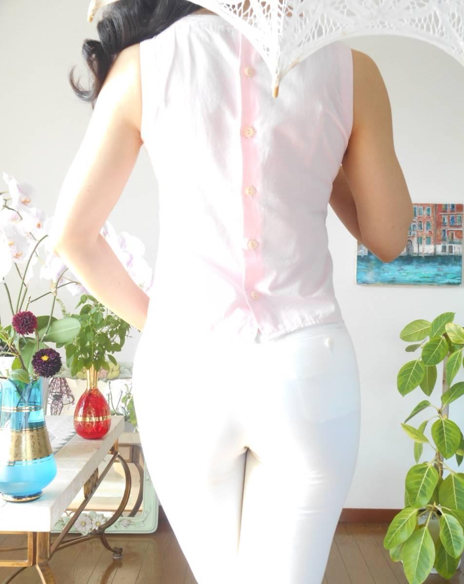 イタリア製*nara camicie*可憐な豪華刺繍のベビーピンクブラウス*背中ボタン*手染めコットンエンブロイダリー綿*ナラカミーチェ*1*Mサイズ*_画像2