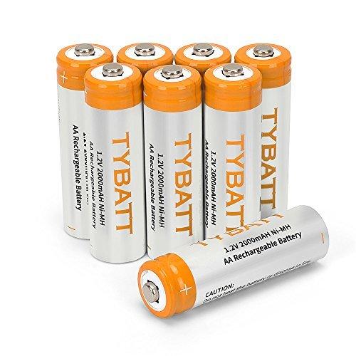 【1円セール】 TYBATT2000mah 8個 単3形充電池 充電式ニッケル水素電池 8本入り 収納ケース2個付き 単三充電池