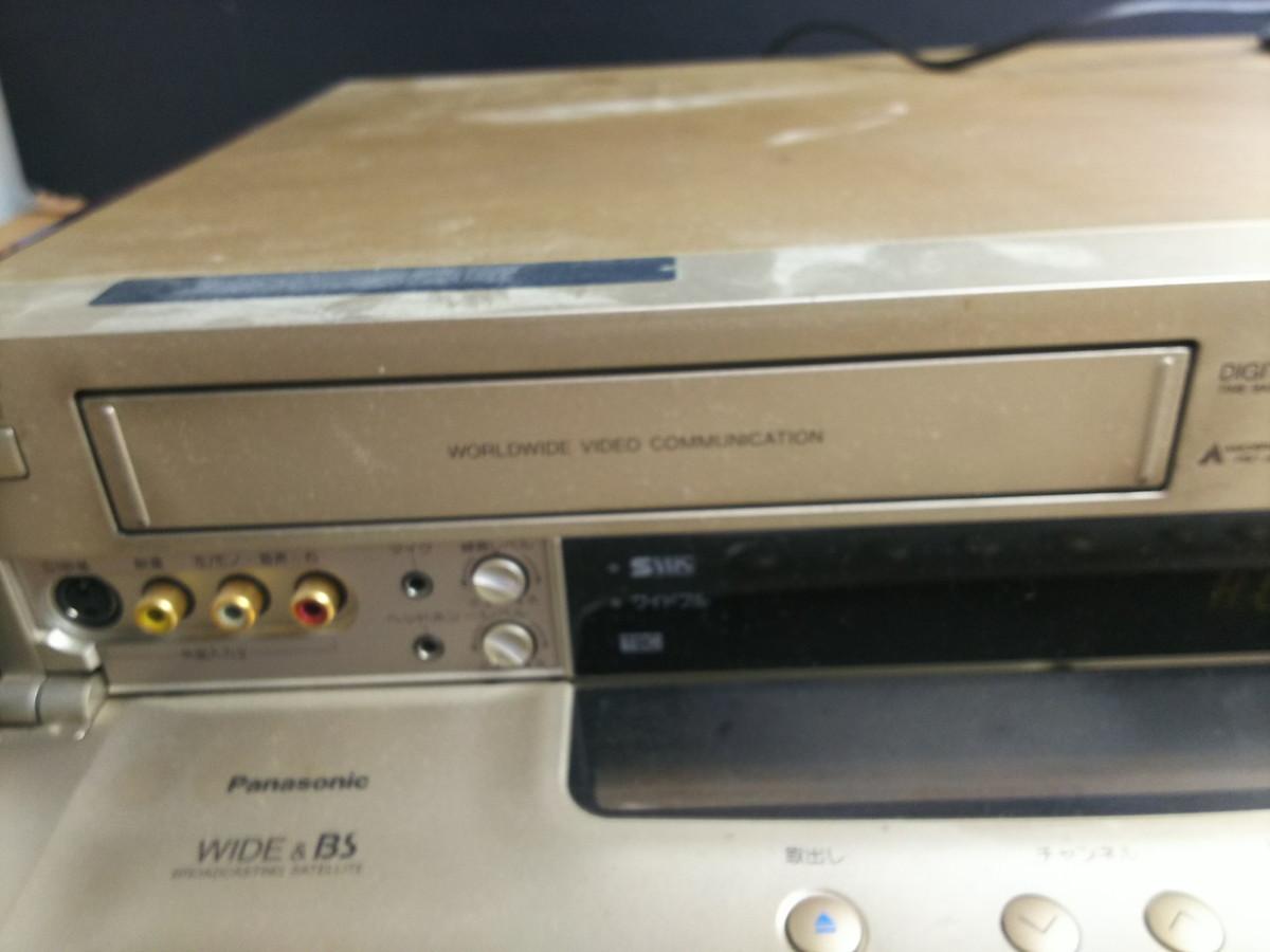 S8-344 ◆パナソニック S-VHS対応 ビデオデッキ NV-SB1000W◆通電のみ確認◆ジャンク品◆ _画像4