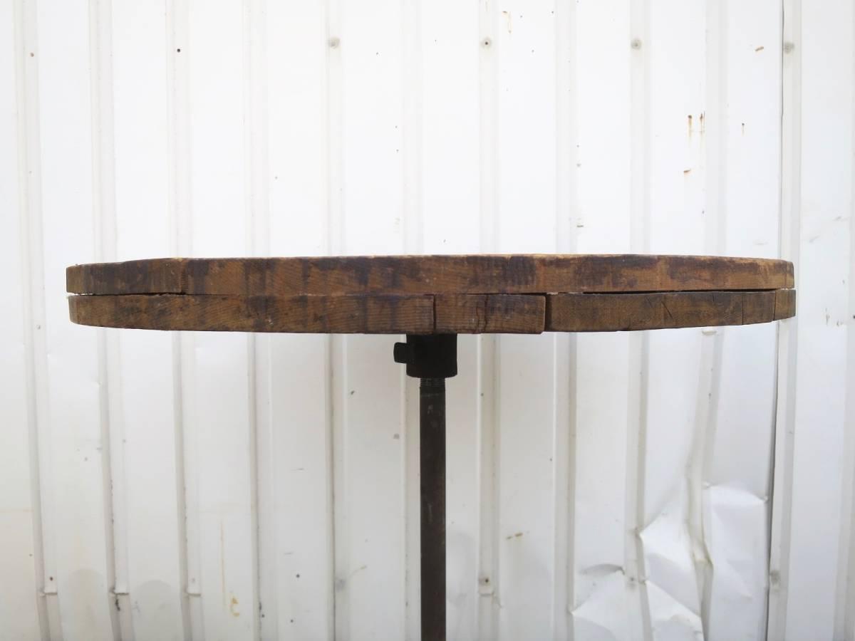 ビンテージ アイアンカフェテーブル 店舗ディスプレイ 丸テーブル ウッド 木製 アーリーアメリカン インダストリアル 机_画像6