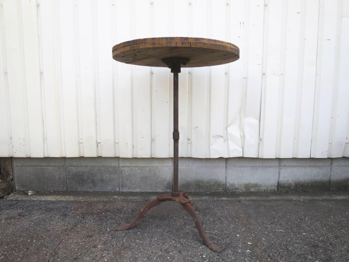 ビンテージ アイアンカフェテーブル 店舗ディスプレイ 丸テーブル ウッド 木製 アーリーアメリカン インダストリアル 机_画像2