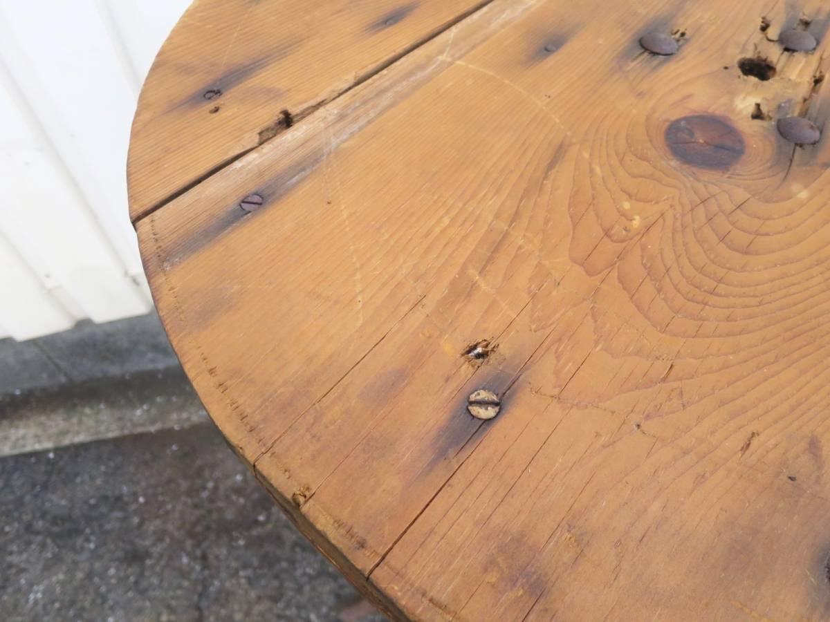 ビンテージ アイアンカフェテーブル 店舗ディスプレイ 丸テーブル ウッド 木製 アーリーアメリカン インダストリアル 机_画像4