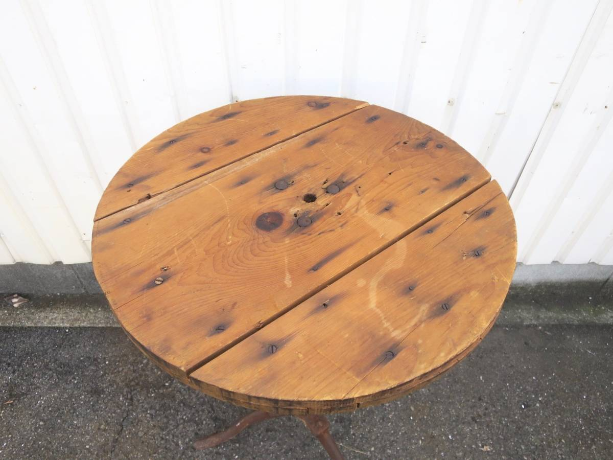 ビンテージ アイアンカフェテーブル 店舗ディスプレイ 丸テーブル ウッド 木製 アーリーアメリカン インダストリアル 机_画像3