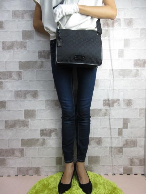 美品■グッチ GUCCI■ショルダー バッグ キャンバス レザー ブラック GG柄 素敵鞄 ag4457_画像3