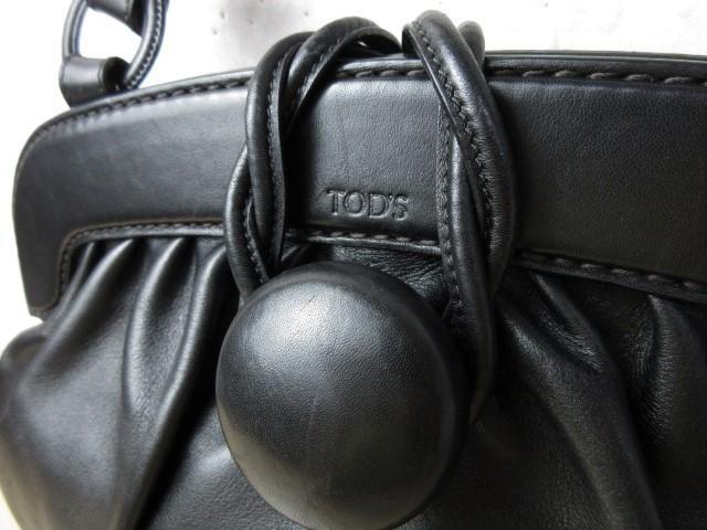 美品■トッズ TOD'S■ハンド バッグ トートバッグ レザー ブラック オシャレ鞄 ag4372_画像8