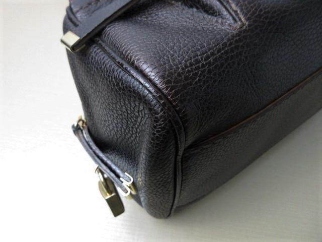 美品■トッズ TOD'S■ハンド バッグ レザー ダークブラウン カデナ 鍵付 肩掛け可 上質鞄 ag4379_画像6