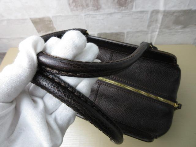 美品■トッズ TOD'S■ハンド バッグ レザー ダークブラウン カデナ 鍵付 肩掛け可 上質鞄 ag4379_画像7