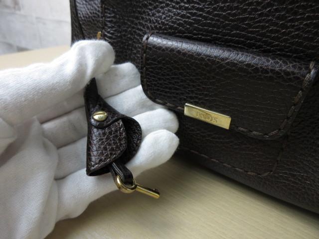 美品■トッズ TOD'S■ハンド バッグ レザー ダークブラウン カデナ 鍵付 肩掛け可 上質鞄 ag4379_画像8