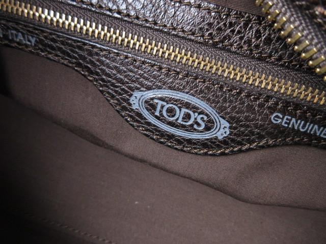 美品■トッズ TOD'S■ハンド バッグ レザー ダークブラウン カデナ 鍵付 肩掛け可 上質鞄 ag4379_画像9