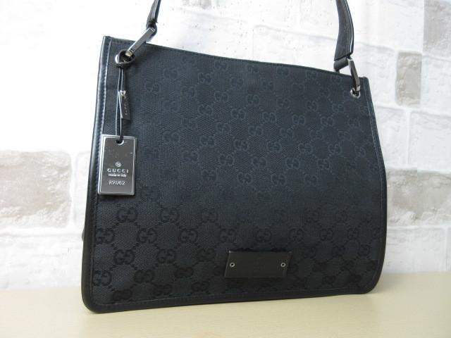美品■グッチ GUCCI■ショルダー バッグ キャンバス レザー ブラック GG柄 素敵鞄 ag4457