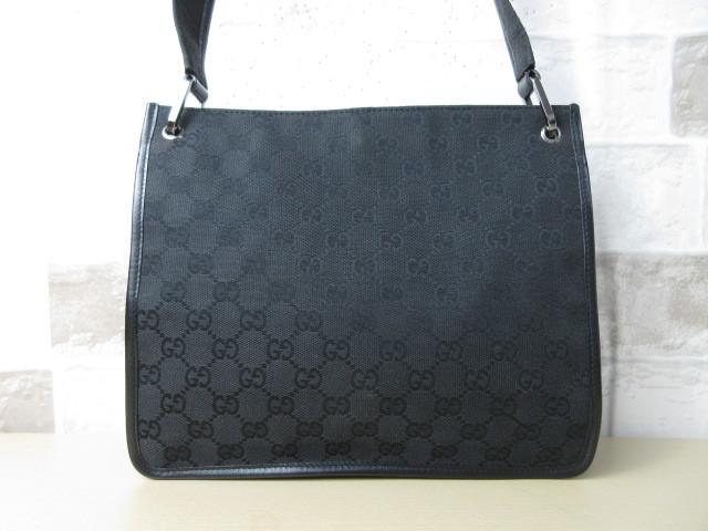 美品■グッチ GUCCI■ショルダー バッグ キャンバス レザー ブラック GG柄 素敵鞄 ag4457_画像2
