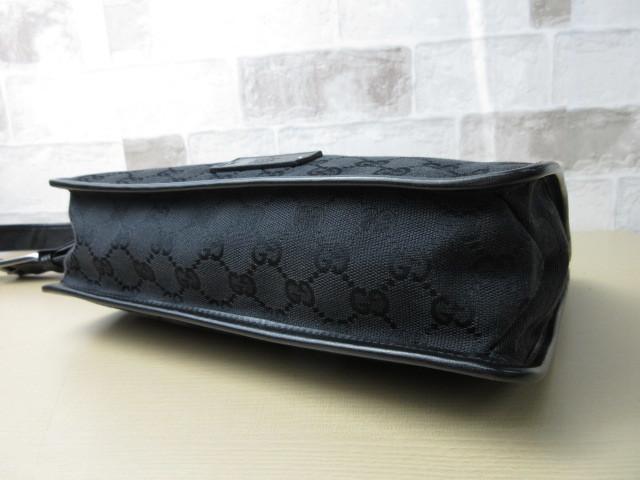美品■グッチ GUCCI■ショルダー バッグ キャンバス レザー ブラック GG柄 素敵鞄 ag4457_画像4
