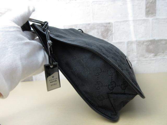 美品■グッチ GUCCI■ショルダー バッグ キャンバス レザー ブラック GG柄 素敵鞄 ag4457_画像5