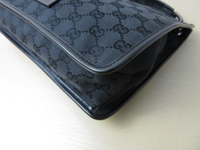 美品■グッチ GUCCI■ショルダー バッグ キャンバス レザー ブラック GG柄 素敵鞄 ag4457_画像6