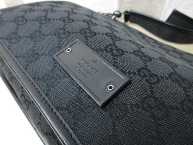 美品■グッチ GUCCI■ショルダー バッグ キャンバス レザー ブラック GG柄 素敵鞄 ag4457_画像7