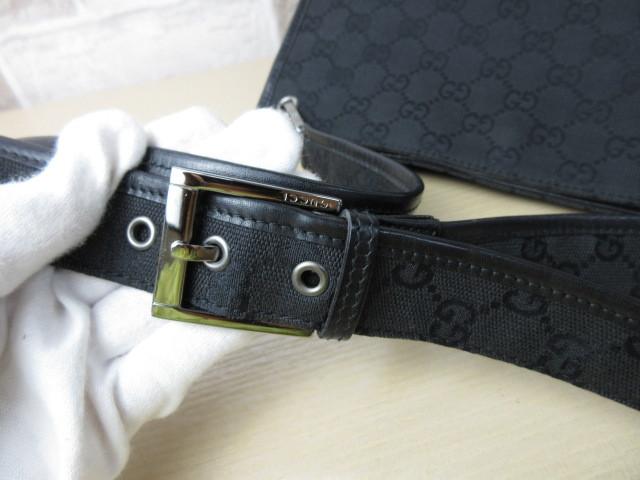 美品■グッチ GUCCI■ショルダー バッグ キャンバス レザー ブラック GG柄 素敵鞄 ag4457_画像8