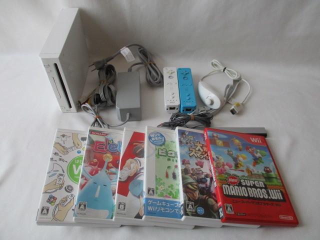 任天堂 Wii本体/付属品セット リモコン2個 ソフト6本セット 中古