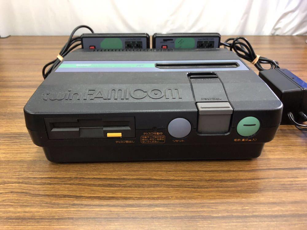 SHARP/シャープ ツインファミコン本体 AN-505+専用純正アダプターセット/任天堂 通電OK/中古未確認 通電OK/動作未確認 ジャンク扱い (80s)_画像3