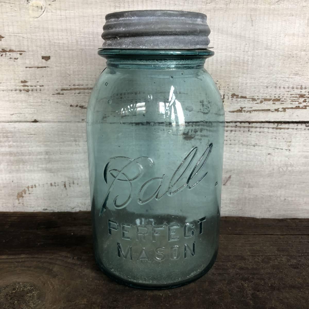 即決⑤ 1930's ball 17.5cm ヴィンテージ メイソンジャー ガラス瓶 キッチン カフェ ガーデニング ジャンク シャビー 雑貨 小物 収納_画像1