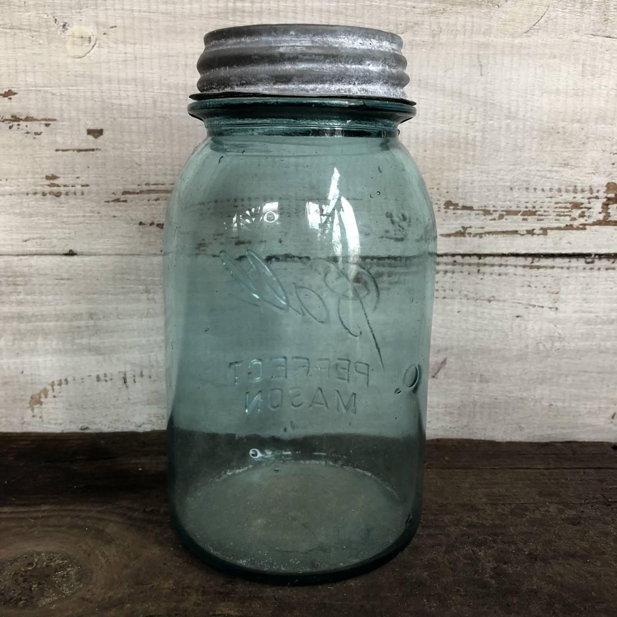 即決⑤ 1930's ball 17.5cm ヴィンテージ メイソンジャー ガラス瓶 キッチン カフェ ガーデニング ジャンク シャビー 雑貨 小物 収納_画像3