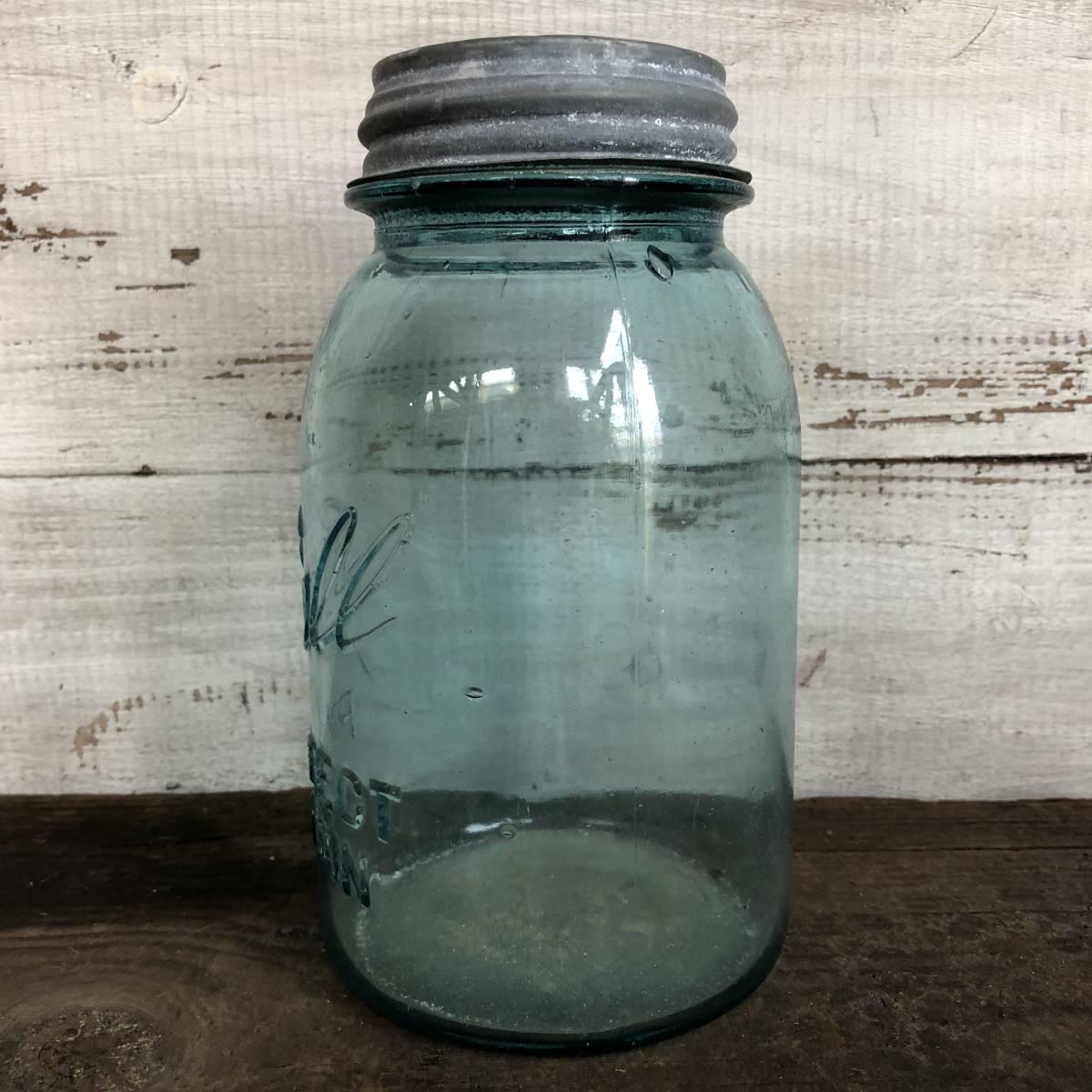 即決⑤ 1930's ball 17.5cm ヴィンテージ メイソンジャー ガラス瓶 キッチン カフェ ガーデニング ジャンク シャビー 雑貨 小物 収納_画像2