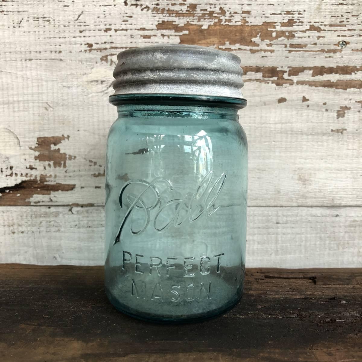 即決⑩ 1930's ball 14cm ヴィンテージ メイソンジャー ガラス瓶 キッチン ジャンク シャビー アクセサリー パーツ 金具 雑貨 小物 収納_画像1
