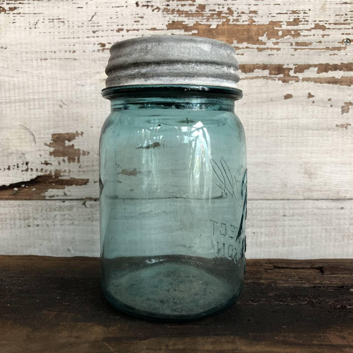 即決⑩ 1930's ball 14cm ヴィンテージ メイソンジャー ガラス瓶 キッチン ジャンク シャビー アクセサリー パーツ 金具 雑貨 小物 収納_画像2