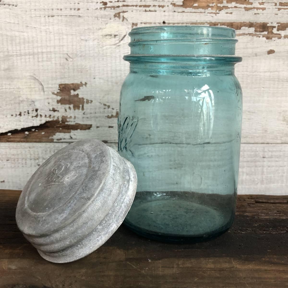 即決⑩ 1930's ball 14cm ヴィンテージ メイソンジャー ガラス瓶 キッチン ジャンク シャビー アクセサリー パーツ 金具 雑貨 小物 収納_画像4