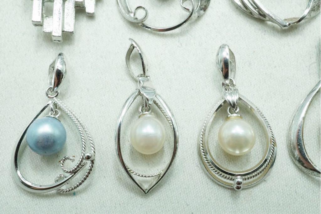 A420 本真珠 パール ヴィンテージ ペンダント 10点セット アクセサリー SILVER含む アンティーク 大量 まとめて おまとめ まとめ売り_画像3