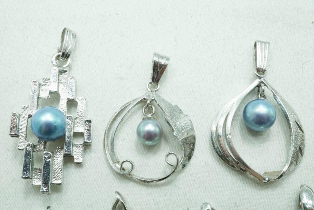 A420 本真珠 パール ヴィンテージ ペンダント 10点セット アクセサリー SILVER含む アンティーク 大量 まとめて おまとめ まとめ売り_画像5