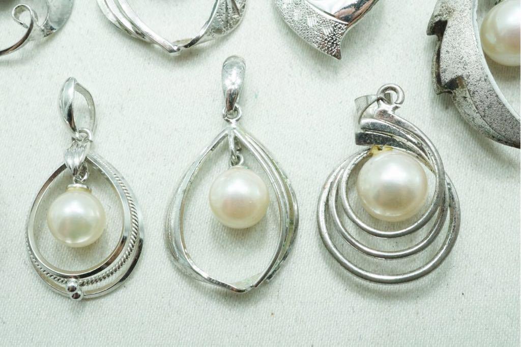 A420 本真珠 パール ヴィンテージ ペンダント 10点セット アクセサリー SILVER含む アンティーク 大量 まとめて おまとめ まとめ売り_画像4
