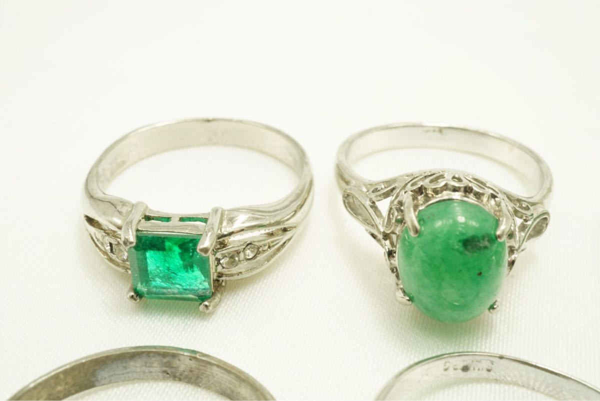 A4 緑石 天然石系 ヴィンテージリング 指輪 ペンダント 8点 アクセサリー アンティーク 大量 まとめて おまとめ まとめ売り ネックレス_画像2