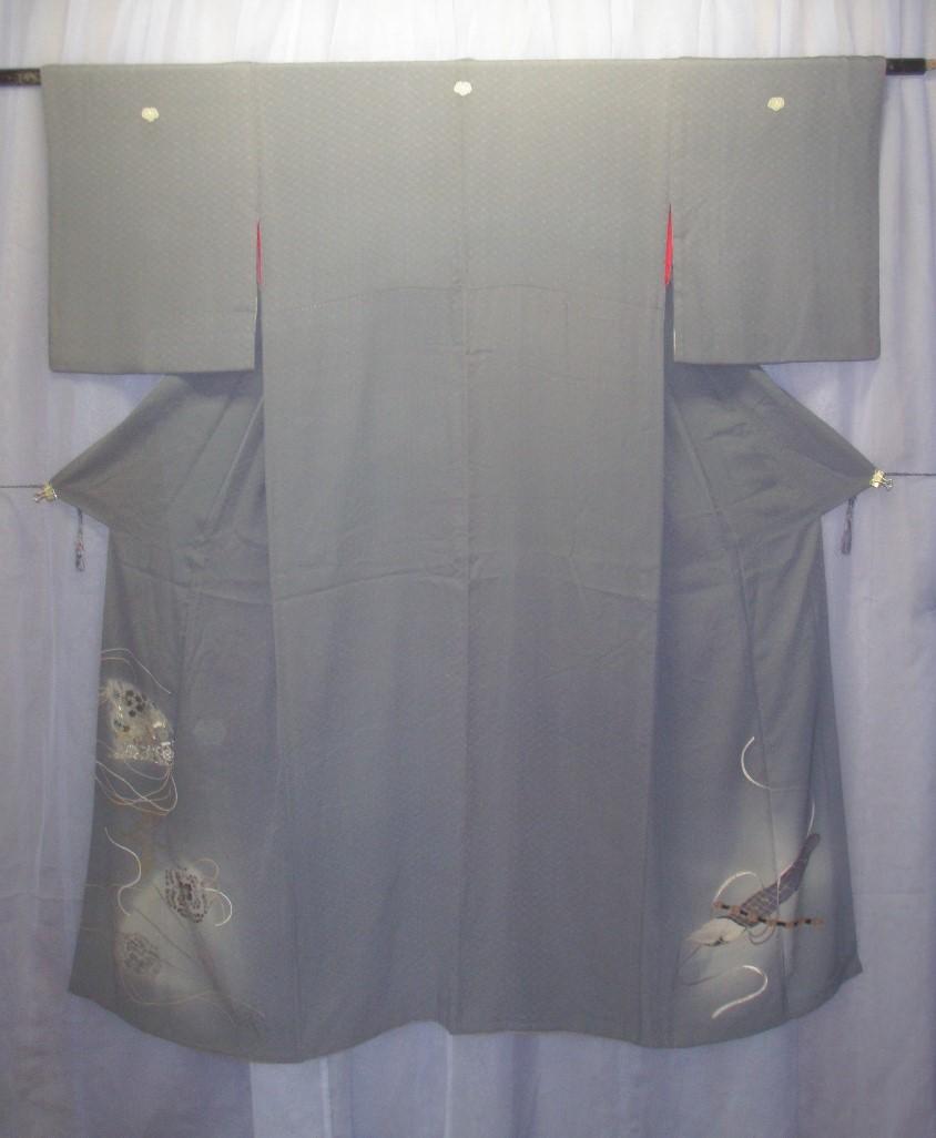 0814 着物 正絹 訪問着 色留袖 グレー灰色 紋入 豪華扇面末広文様 アンティーク 昭和レトロ 大正ロマン リメイク素材にもグッド_画像1