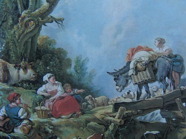 フランソワ ブーシェ、【市場の帰り】、希少画集より、状態良好、新品高級額装付、絵画 送料無料_画像2
