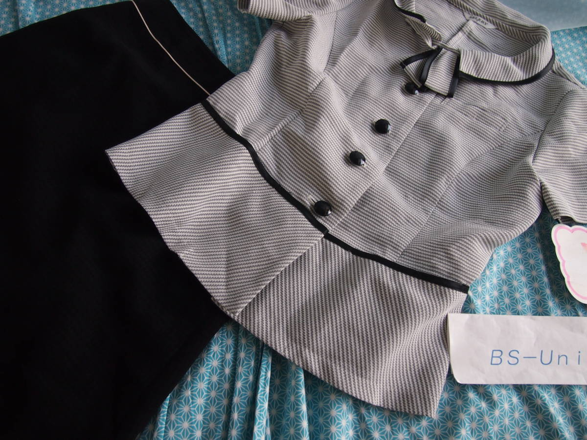 OL制服・事務服セロリー横ストライプオーバーブラウス・黒スカートセット  7号_画像3