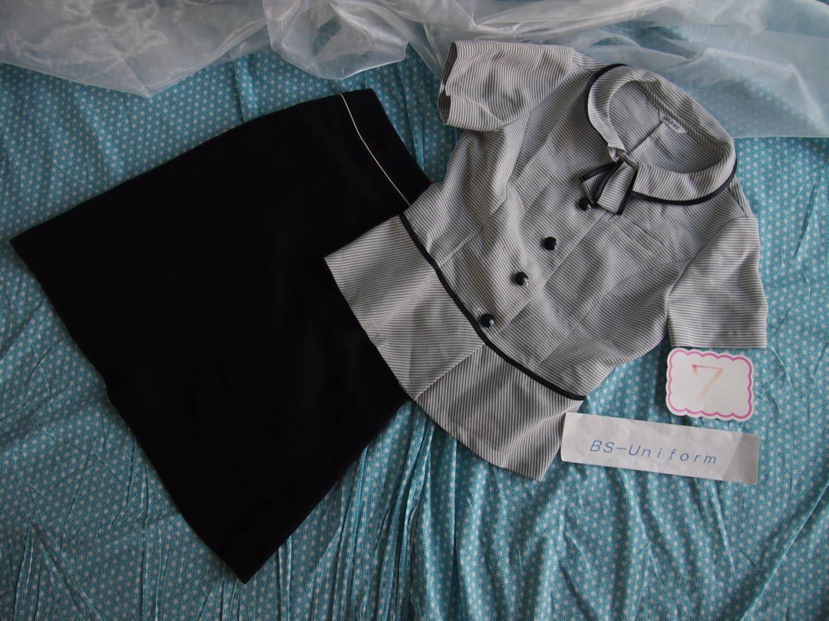 OL制服・事務服セロリー横ストライプオーバーブラウス・黒スカートセット  7号_画像5