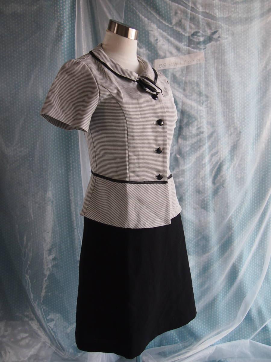 OL制服・事務服セロリー横ストライプオーバーブラウス・黒スカートセット  7号