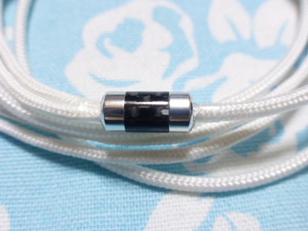 切り込み入り MMCX ケーブル 4N純銀撚り線 2.5mm4極 110cm (IEM 等 カスタム対応可) 白色布スリーブ スプリッター Shure Westone Campfire_画像4
