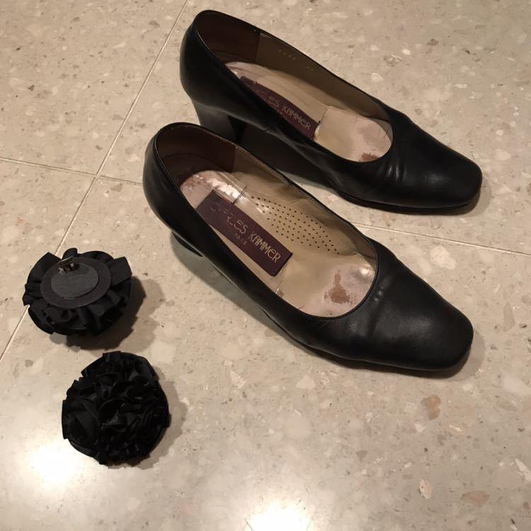 黒パンプス22.5cm2足★フランス製HARUTA charles kammerとダイアナのクロコ