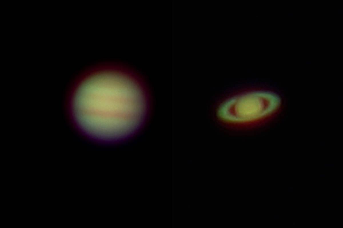木星と土星 撮影後に画像処理を行いました