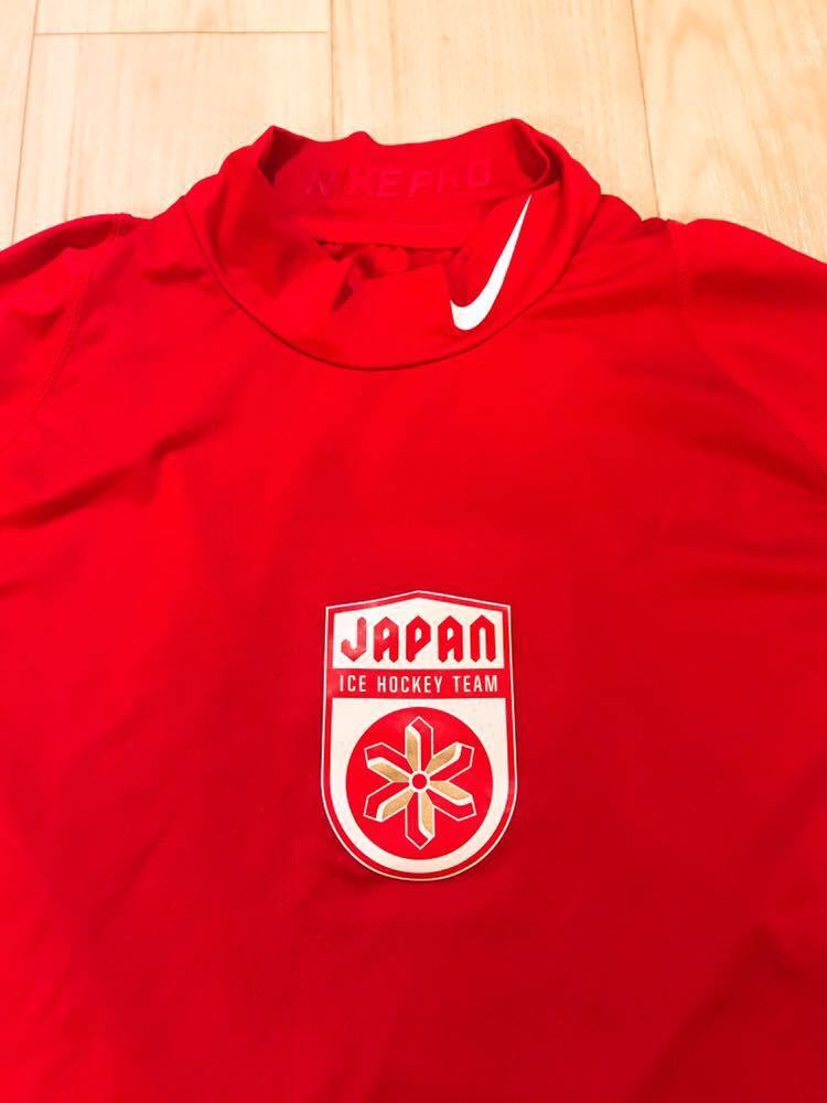 アイスホッケー 日本代表 支給品 NIKE コンプレッション 赤 Sサイズ_画像2