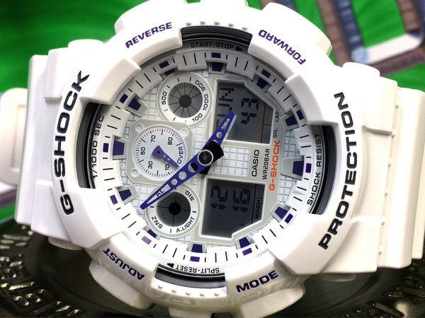 新品 CASIO カシオ G-SHOCK Gショック 正規品 アナログ デジタル 腕時計 ホワイト パープル 白 紫 ウォッチ 時計