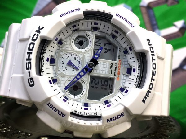 新品 CASIO カシオ G-SHOCK Gショック 正規品 アナログ デジタル 腕時計 ホワイト パープル 白 紫 ウォッチ 時計_画像6