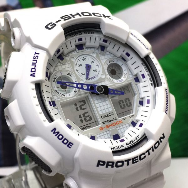 新品 CASIO カシオ G-SHOCK Gショック 正規品 アナログ デジタル 腕時計 ホワイト パープル 白 紫 ウォッチ 時計_画像5