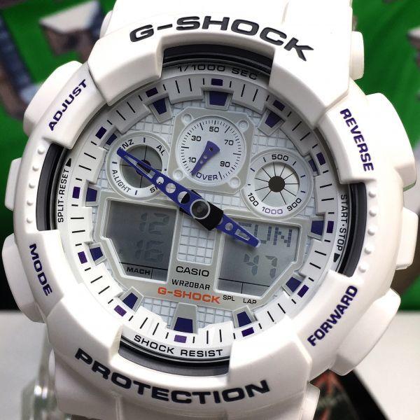 新品 CASIO カシオ G-SHOCK Gショック 正規品 アナログ デジタル 腕時計 ホワイト パープル 白 紫 ウォッチ 時計_画像3