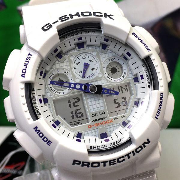 新品 CASIO カシオ G-SHOCK Gショック 正規品 アナログ デジタル 腕時計 ホワイト パープル 白 紫 ウォッチ 時計_画像2