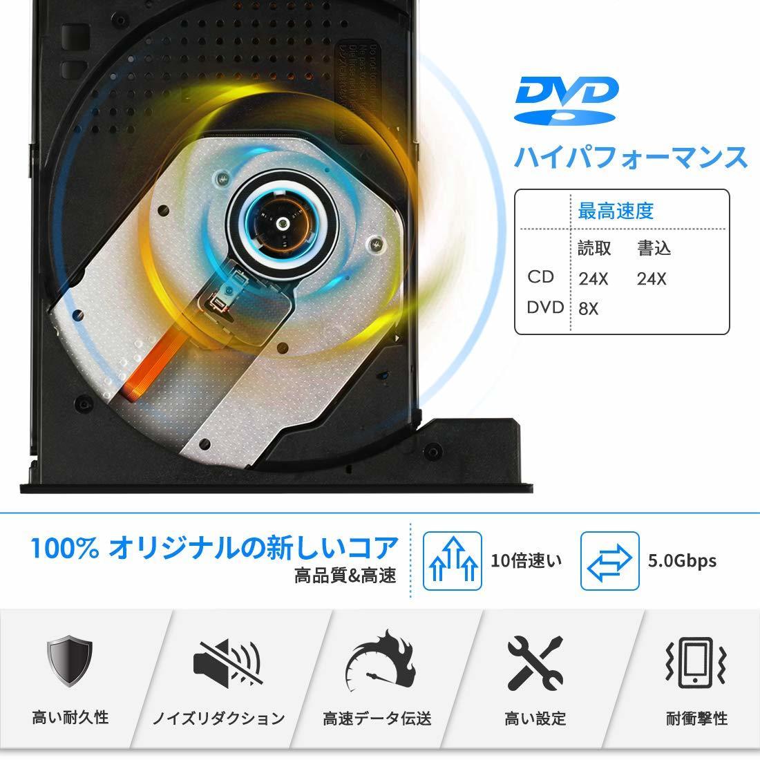 【作業効率化!】21C【2019最新型】USB3.0 外付け DVD ドライブ DVD プレーヤー USB ポータブルドライブ USB3.0 Type-C 薄型 _画像4