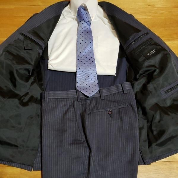 圧巻の英国質感★バーバリーブラックレーベル 通年『高級ウール×シルク』上質な着心地◎英国調パープルST◎ネイビースリム スーツ38R(M位)_画像5