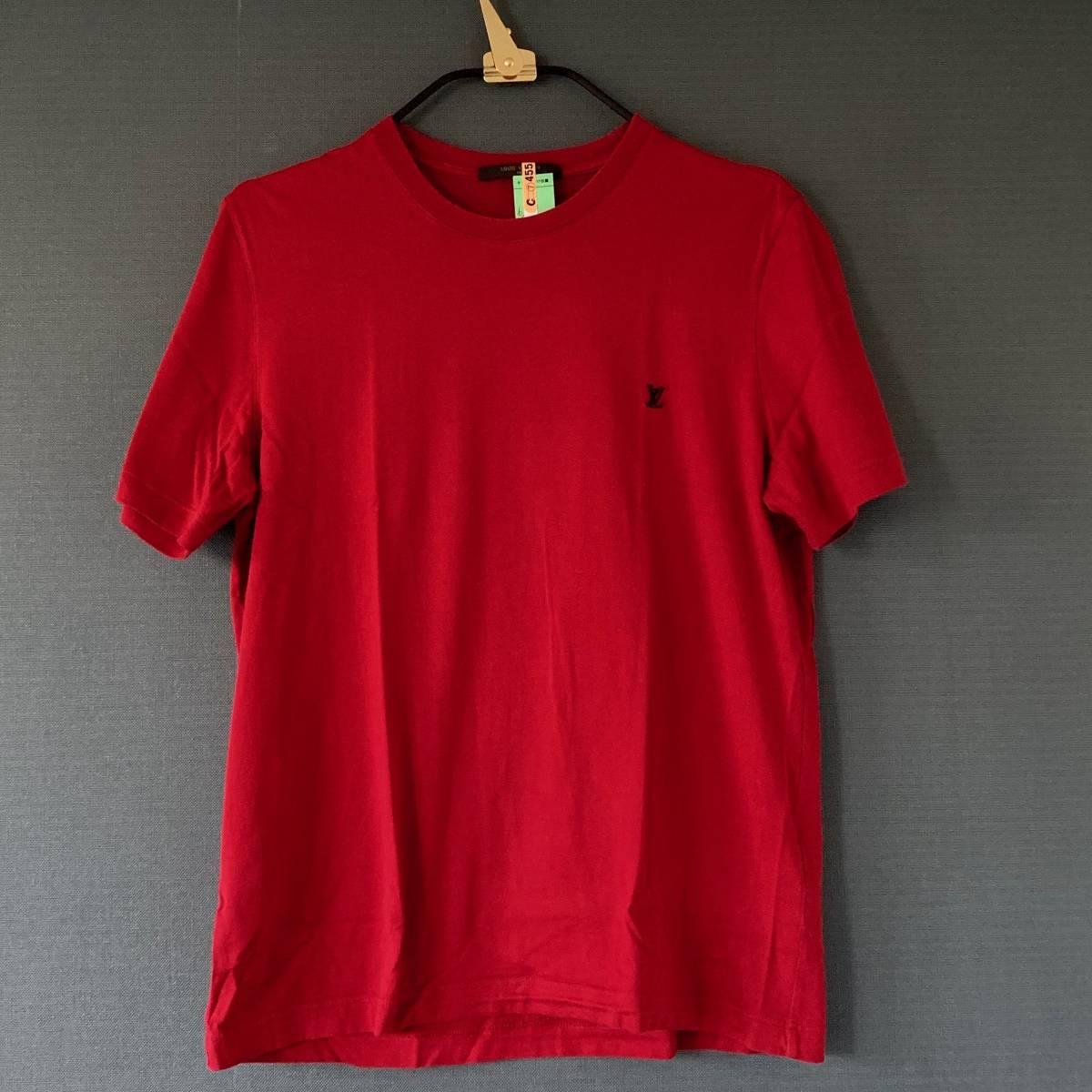 『 LOUIS VUITTON ルイ・ヴィトン 国内正規店 表参道店 』M メンズ Tシャツ MADE IN ITALY ワンポイント 刺繍 ロゴ コットン 半袖 本物保証
